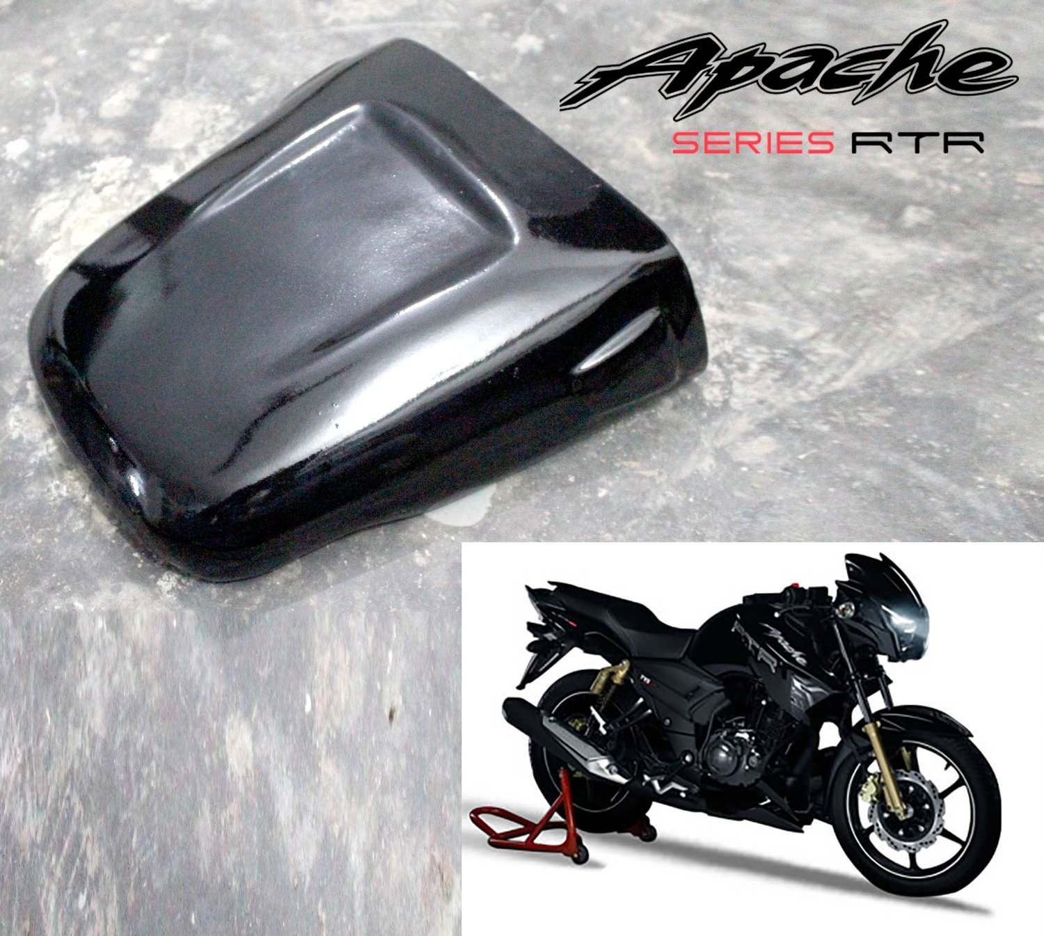 Dragster Pillion Seat Cowl for TVS Apache 160/180 - Plug N Play - Gloss Black
