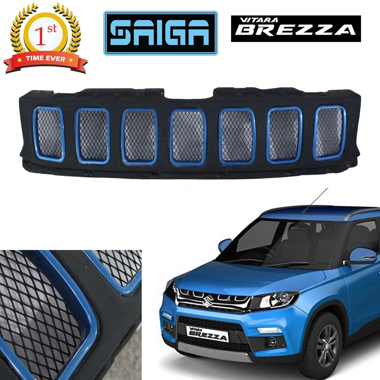 Saiga Jeep Compass Style Front Grill For Suzuki Brezza (Black & Blue)