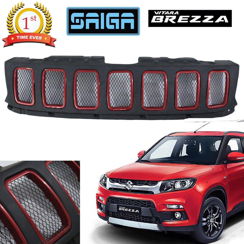 Saiga Jeep Compass Style Front Grill For Suzuki Brezza (Black & Red)