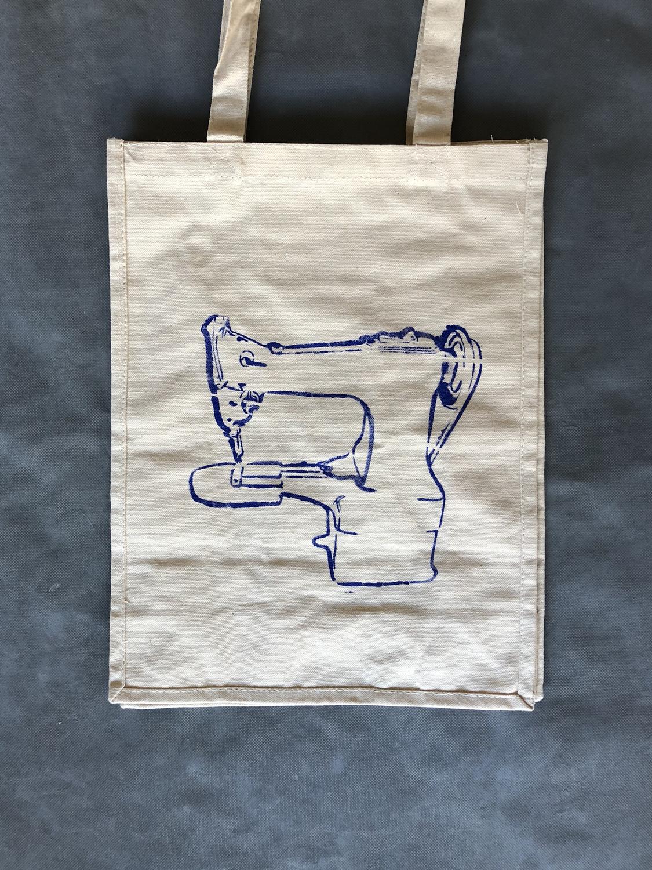 Canvas Tote Bag - Darning machine / Indigo blue