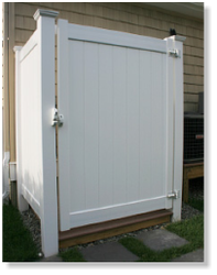 Vinyl Outdoor Shower Enclosure Kits for Outside Showers | Liquid ...
