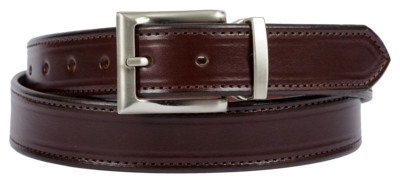 Bridle Leather Belt Stitched Dress Belt, Dark Brown