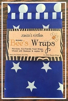 Bee's Wax Wraps 3 Pack- Blue