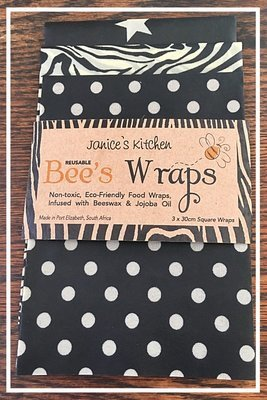 Bee's Wax Wraps 3 Pack- Black