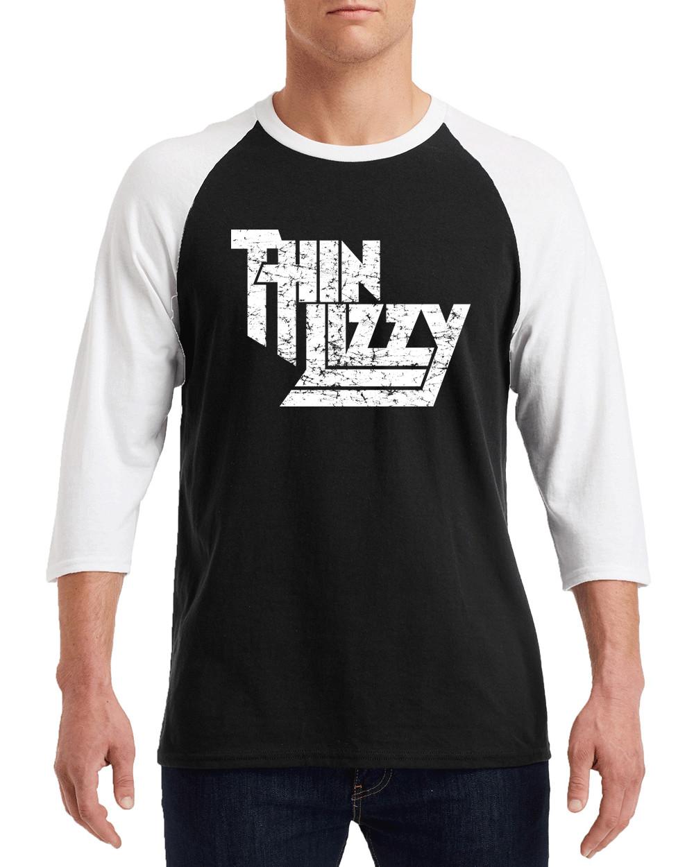 "THIN LIZZY WHITE Logo Gildan G570 3/4 Sleeve Shirt ""FREE SHIPPING"""