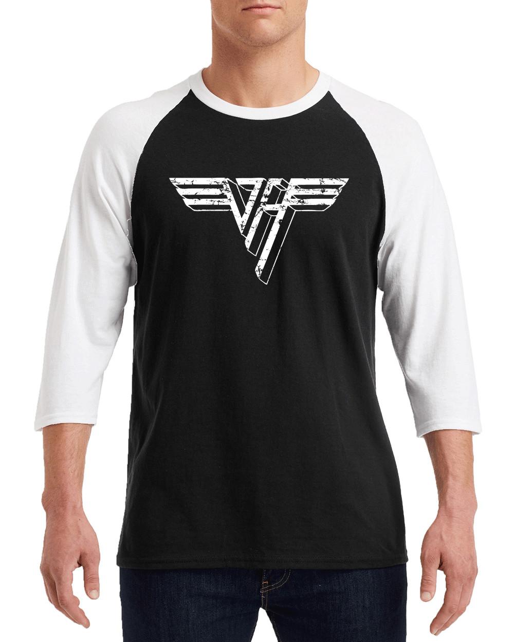 VAN HALEN II WHITE Distress Logo Gildan G570 3/4 Sleeve Shirt