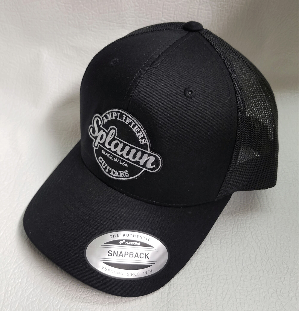 Splawn Amplification Guitars Center Logo Trucker CapSnapback Black with Black Mesh