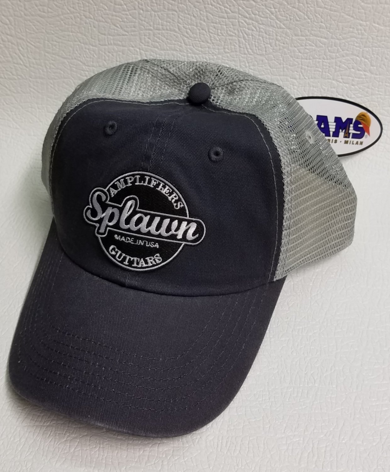 Splawn Amplification Guitars Trucker Cap Adams VB101 Vibe Charcoalwith Light Grey Mesh Center Logo