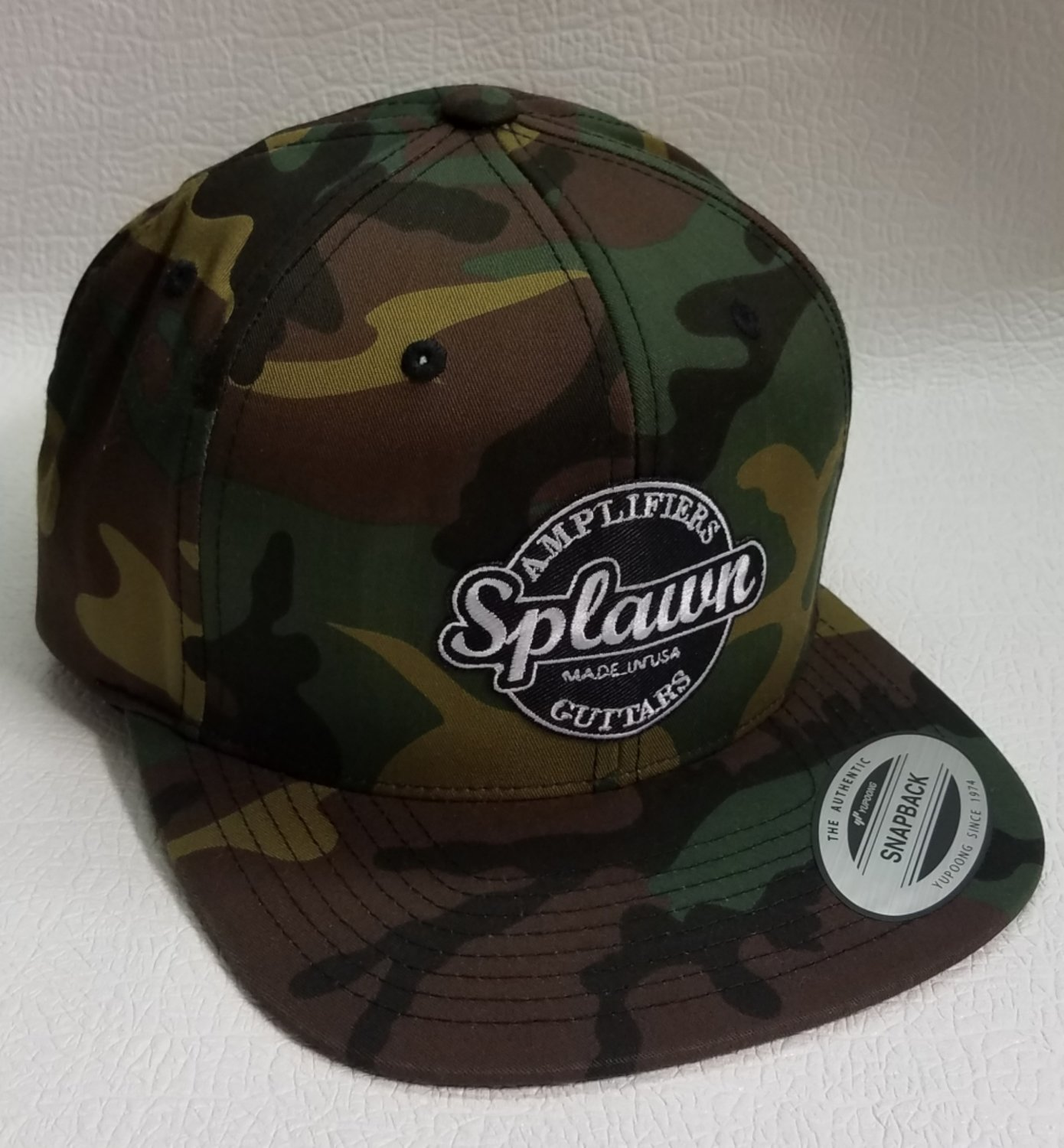 Splawn Amplification Guitars Center Logo Yupoong Snap Back Flat Bill Cap Camo