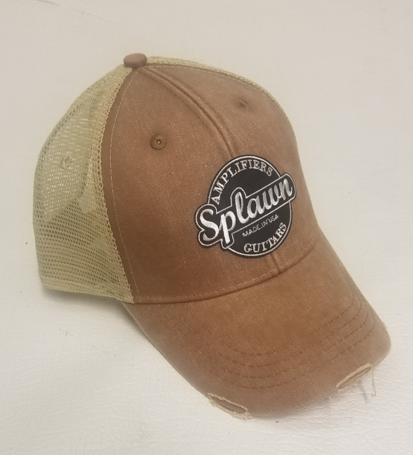 Splawn Amplification Guitars Trucker Cap Adams OL102 Ollie Miss Mud with Tan Mesh Center Logo