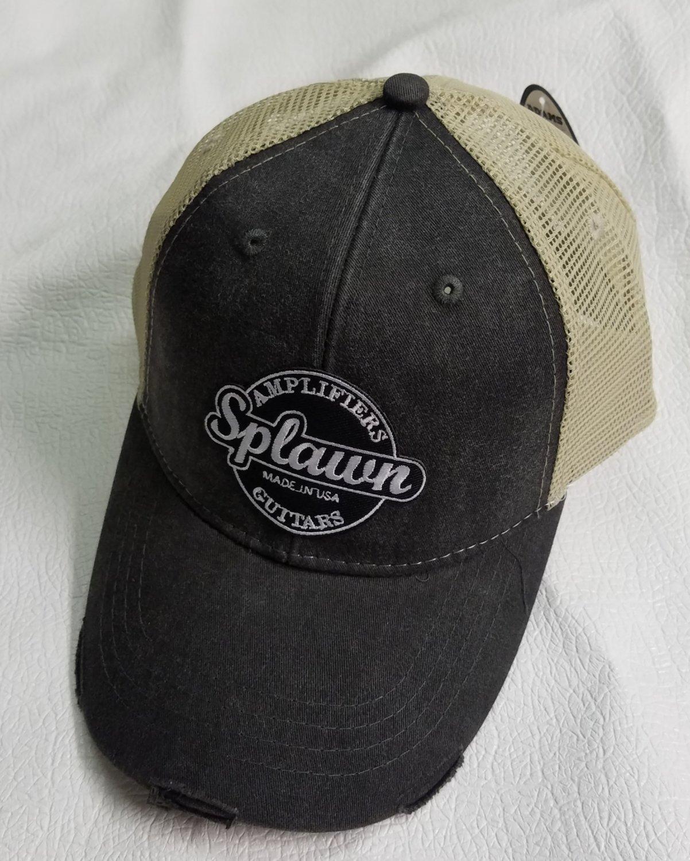 Splawn Amplification Guitars Trucker Cap Center logo Adams OL102 Ollie Black with Tan Mesh