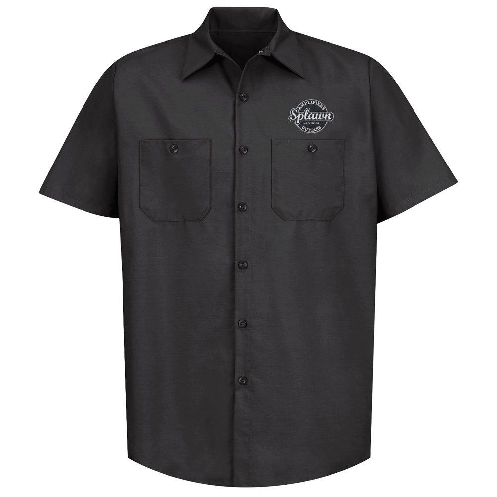 Splawn Amplification Guitars Logo Black RED KAP Work Shirt