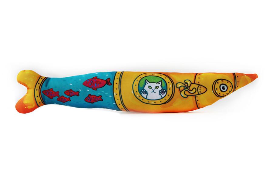 """Игрушка для кошек """"Сардина"""", набитая натуральной кошачьей мятой"""