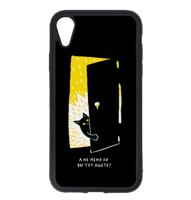 """Чехол пластиковый для айфона XR """"Черная кошка в темной комнате"""""""