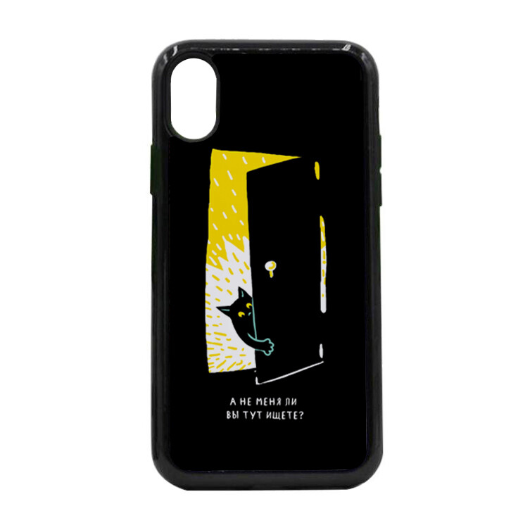 """Чехол пластиковый для айфона X/XS """"Черная кошка в темной комнате"""""""