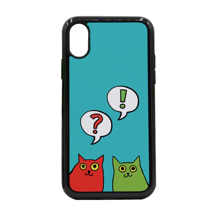 """Чехол пластиковый для айфона X/XS """"Разноцветные коты"""""""