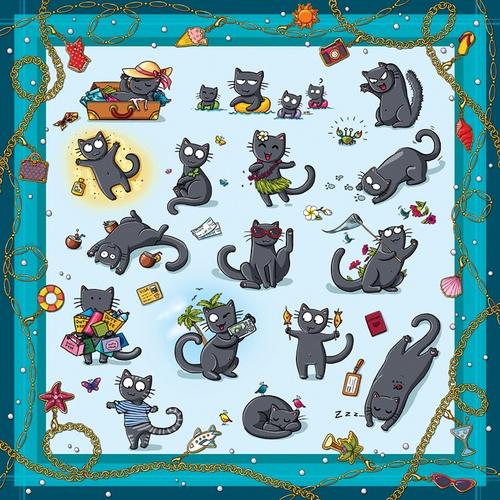 "Платок шелковый ""Отпускные коты"" 00155"