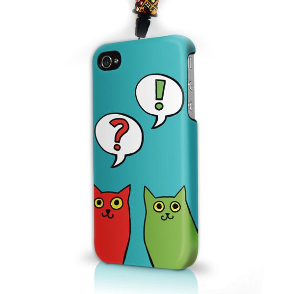 """Чехол пластиковый для айфона SE/5/ 5S """"Разноцветные коты"""" с ланъярдом"""