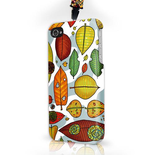 """Чехол пластиковый для айфона SE/5/ 5S """"Листья"""" с ланъярдом"""