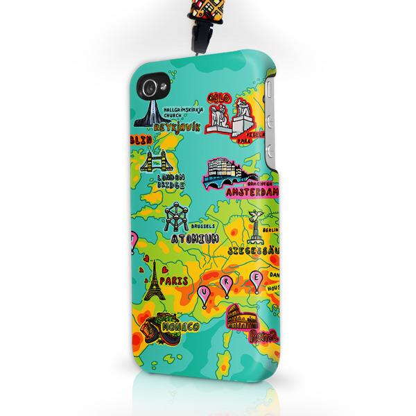 """Чехол пластиковый для айфона SE/5/ 5S """"Галопом по Европе"""" с ланъярдом 00721"""