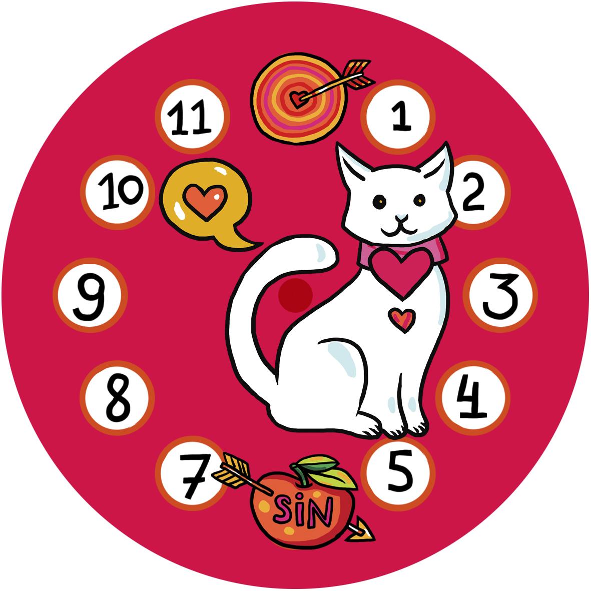 """Часы на магните """"Влюбленная кошка"""" 00755"""