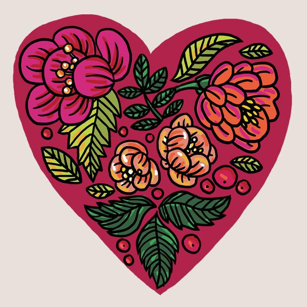 """Временное тату """"Цветочное сердце"""" (2 штуки в наборе)"""