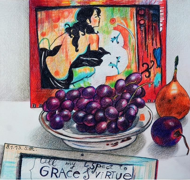"""Репродукция на фотобумаге """"Девушка с фруктами"""" 00989"""