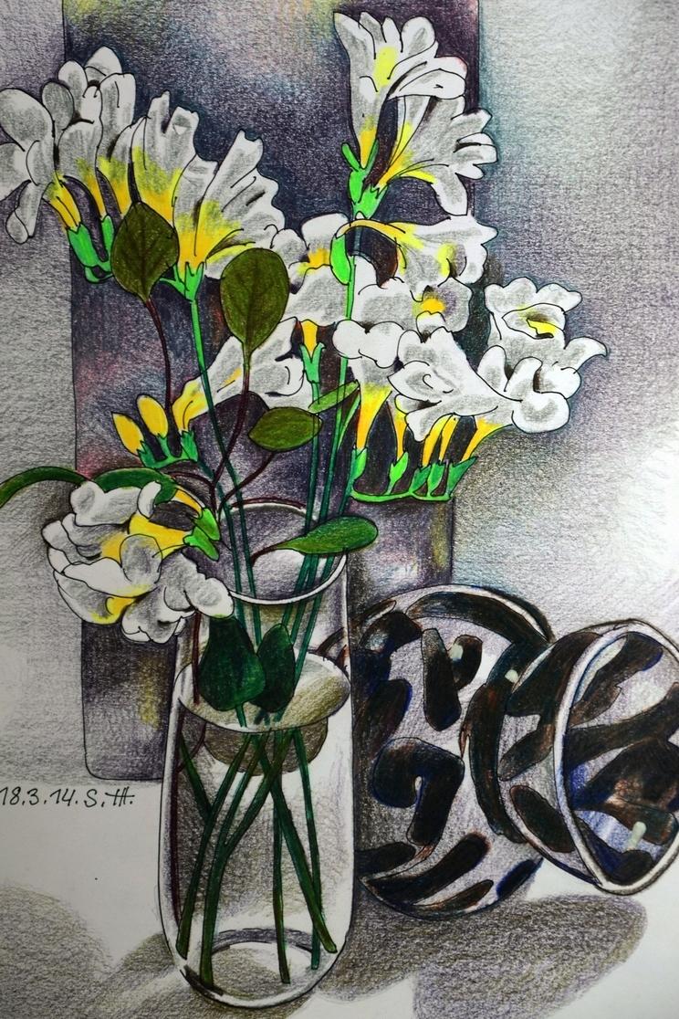 """Репродукция на фотобумаге """"Белые цветы"""" 01016"""