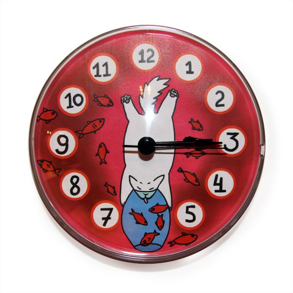 """Часы на магните """"Кот и аквариум"""""""