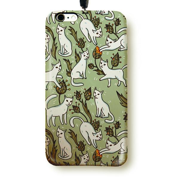"""Чехол пластиковый для айфона 6/6S """"15 белых котов"""" с ланъярдом"""