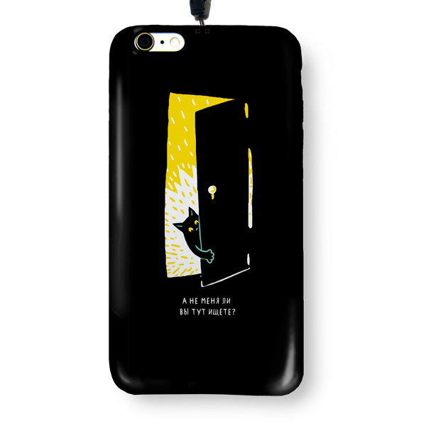 """Чехол пластиковый для айфона 6/6S """"Черная кошка в темной комнате"""" с ланъярдом"""
