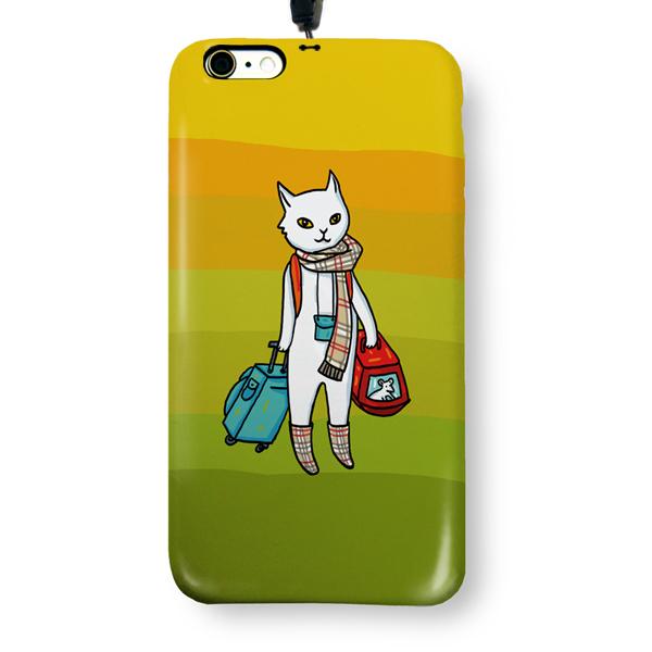 """Чехол пластиковый для айфона 6 Plus/6S Plus """"Кот-хипстер"""" с ланъярдом 01268"""