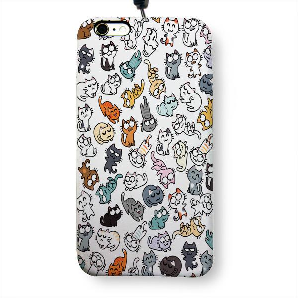 """Чехол пластиковый для айфона 6/6S """"50 оттенков мяу"""" с ланъярдом"""