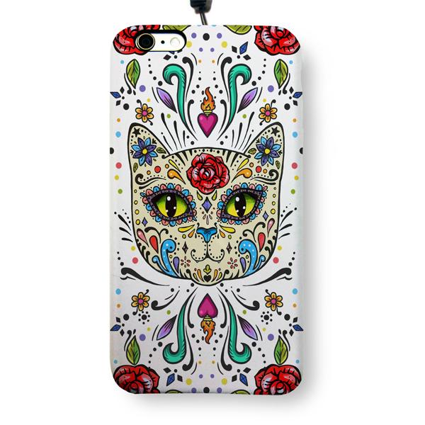 """Чехол пластиковый для айфона 6 Plus/6S Plus """"Мексиканский сахарный кот"""" с ланъярдом"""