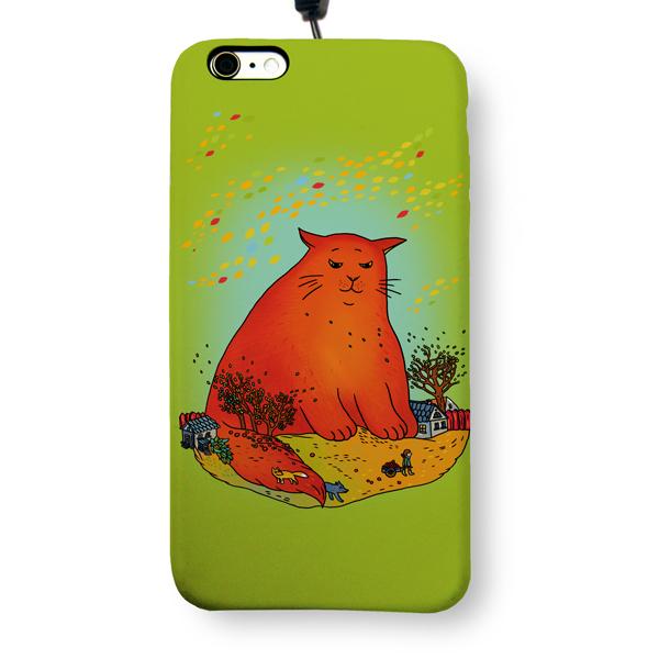 """Чехол пластиковый для айфона 6 Plus/6S Plus """"Красный кот"""" с ланъярдом 01346"""