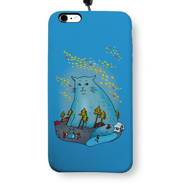 """Чехол пластиковый для айфона 6 Plus/6S Plus """"Синий кот"""" с ланъярдом"""