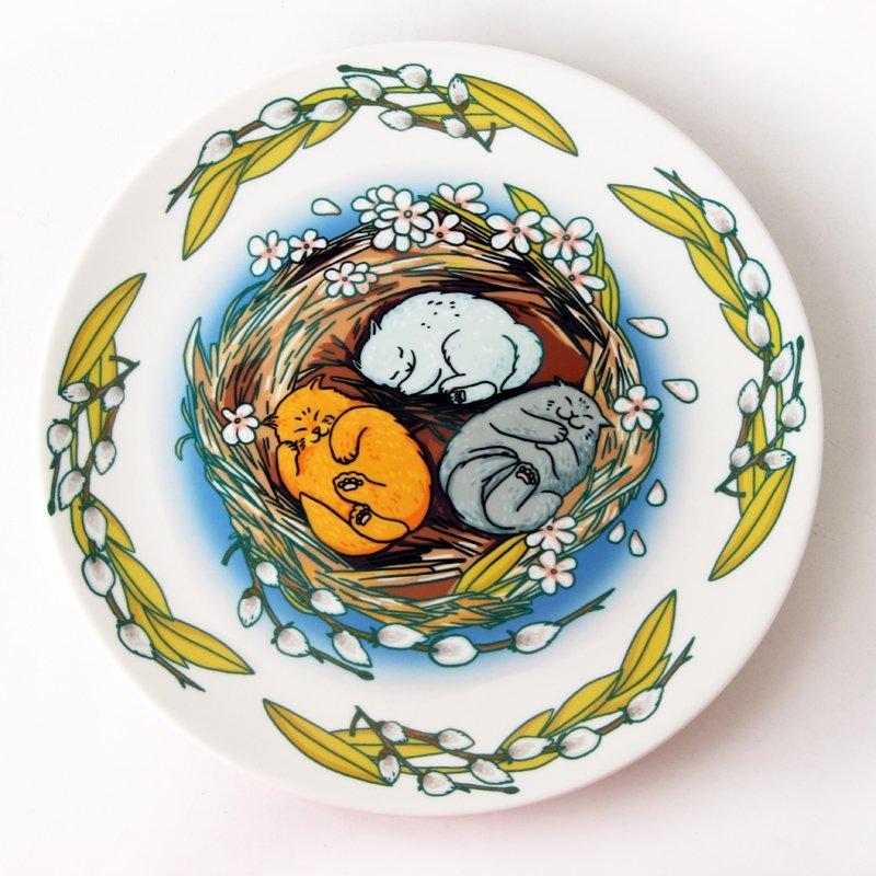 Блюдо декоративное «Весенние коты» (уценка)