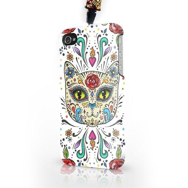 """Чехол пластиковый для айфона SE/5/5S """"Мексиканский сахарный кот"""" с ланъярдом 01358"""