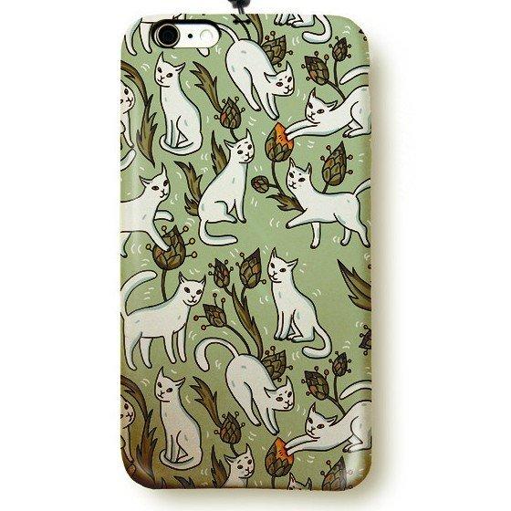 """Чехол пластиковый для айфона 6/6S """"15 белых котов"""" с ланъярдом 01149"""