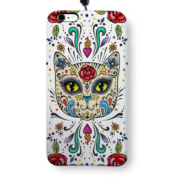 """Чехол пластиковый для айфона 6 Plus/6S Plus """"Мексиканский сахарный кот"""" с ланъярдом 01338"""