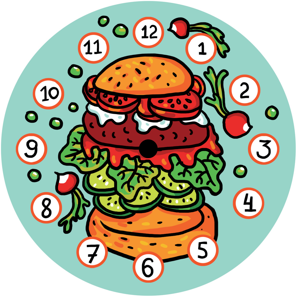 "Часы на магните ""Гамбургер"" 00614"