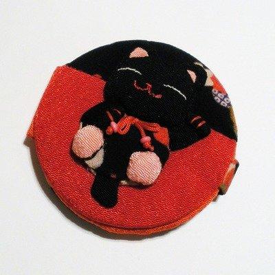 Манеки-неко зеркало черно-красное