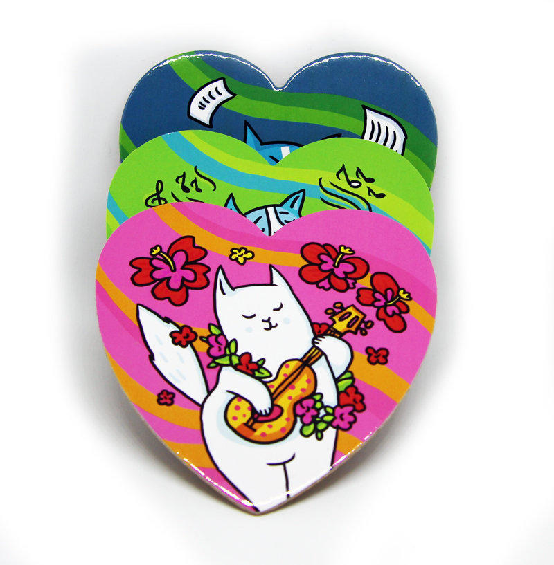 """Набор подставок под горячие кружки """"Коты-музыканты"""" (3 штуки)"""