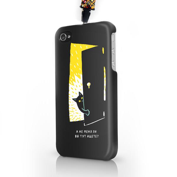 """Чехол пластиковый для айфона SE/5/ 5S """"Черная кошка в темной комнате -1"""" с ланъярдом"""