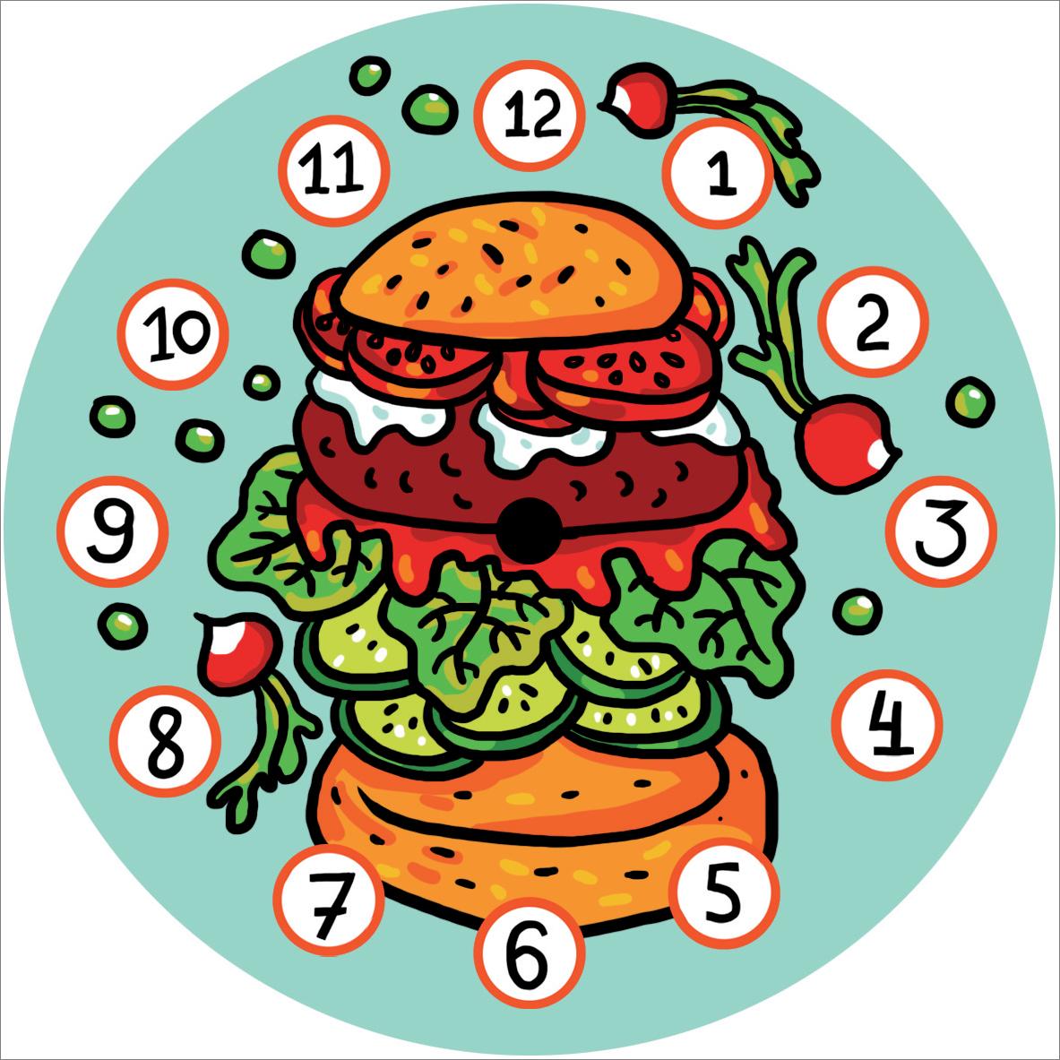 "Часы на магните ""Гамбургер"""