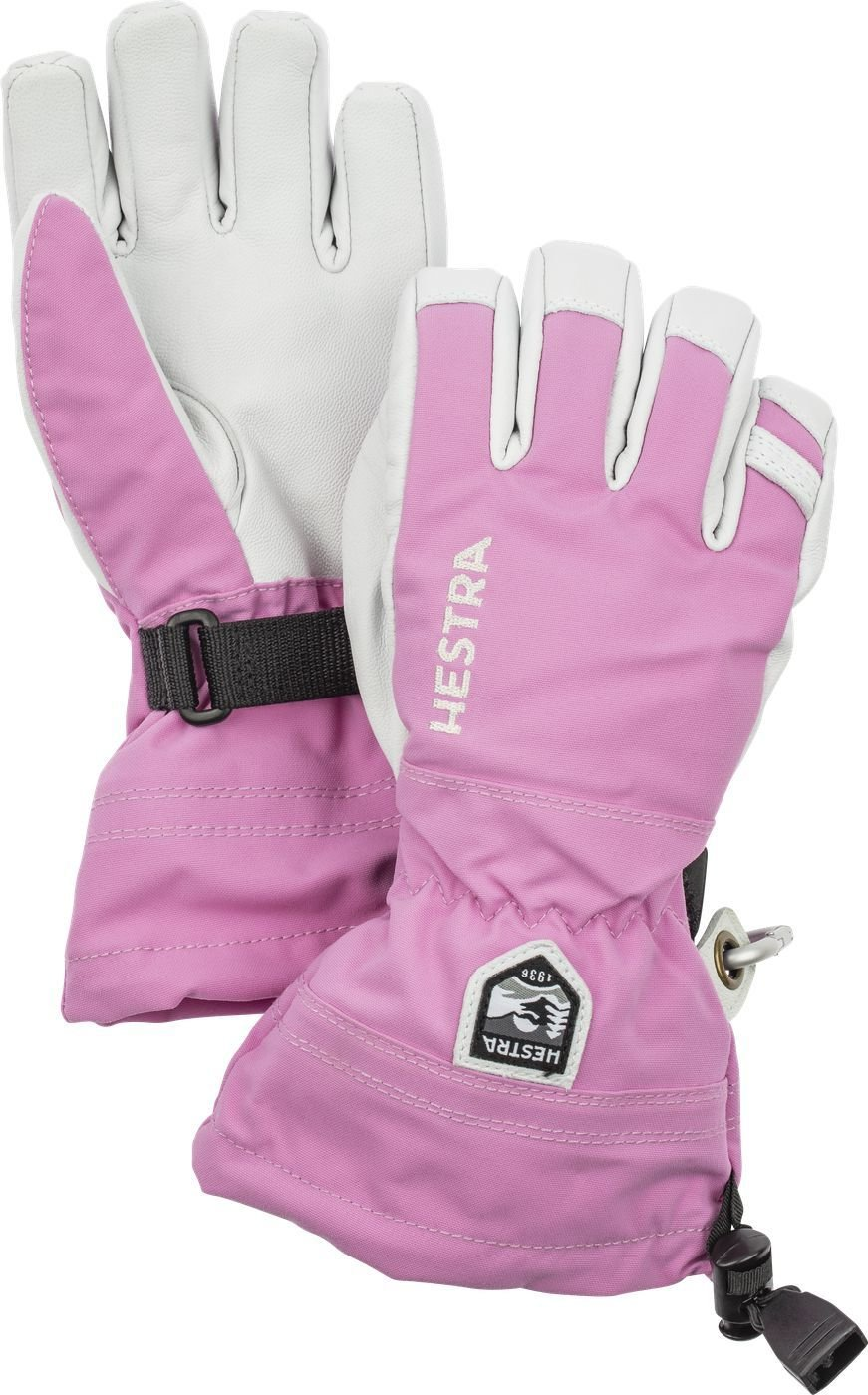 Hestra Army leather heli Jr pink HES-1030