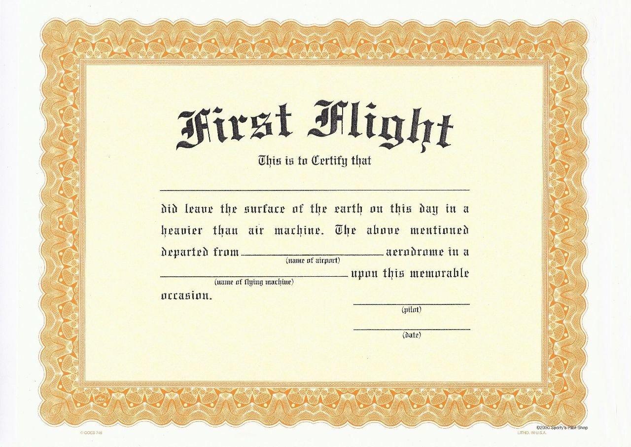 SFA First Flight Certificate