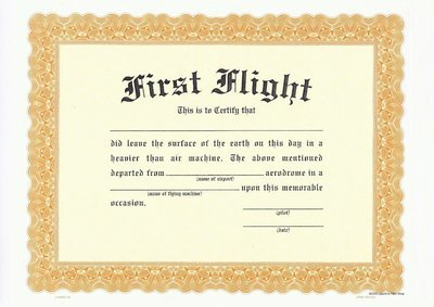 SFA First Flight Certificate