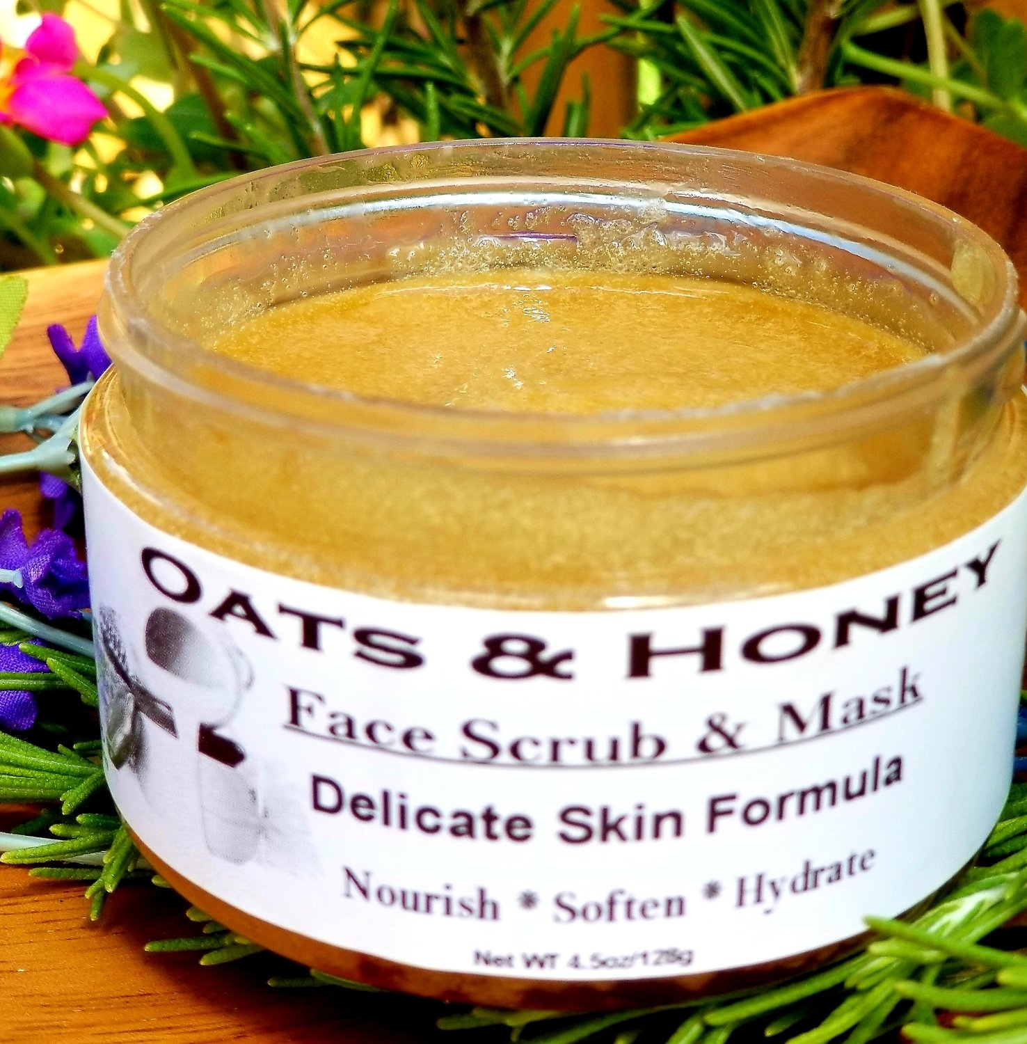 Facial Scrub & Cleanser, Oats & Honey