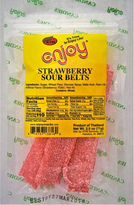 Enjoy Strawberry Sour Belts 2.5 oz